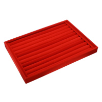 Velveteen Ring Display, with Cardboard, Rectangle, red, 350x240x30mm, 3PCs/Bag, Sold By Bag
