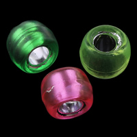 Transparent Acrylic Beads, Drum, silver-lined, mixed colors, 9x6mm, Hole:Approx 4mm, Approx 1800PCs/Bag, Sold By Bag