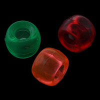 Transparent Acrylic Beads, Drum, mixed colors, 9x6mm, Hole:Approx 4mm, Approx 1800PCs/Bag, Sold By Bag