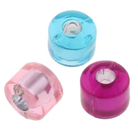 Transparent Acrylic Beads, Column, silver-lined, mixed colors, 6.5x5.5mm, Hole:Approx 2mm, Approx 3500PCs/Bag, Sold By Bag