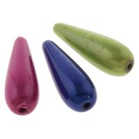 Cudowne akrylowe koraliki, Akryl, Łezka, Malowane, mieszane kolory, 10x30mm, otwór:około 1.5mm, około 410komputery/torba, sprzedane przez torba