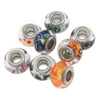 пластик бусины Европейская стиль, Круглая форма, Платиновое покрытие платиновым цвет, различные модели для выбора & цинка сплав двойной ядро без Тролль, 8.50x13.50mm, отверстие:Приблизительно 5mm, 100ПК/Лот, продается Лот