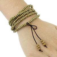 Деревянные браслеты, деревянный, с эластичная нить & цинковый сплав, плакирован золотом, 5-стренги, не содержит никель, свинец, 5x3.5mm, 2.5x3x4-5mm, длина:Приблизительно 34 дюймовый, 3пряди/Лот, продается Лот