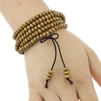 Деревянные браслеты, деревянный, с эластичная нить & цинковый сплав, плакирован золотом, вышитый бисером браслет & 5-стренги, не содержит никель, свинец, 5x3.5mm, 3.5-4x5-6mm, длина:Приблизительно 34 дюймовый, 3пряди/Лот, продается Лот