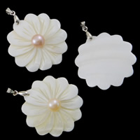 Freshwater Pearl Pendants, with White Shell & Brass, Flower, natural, mixed colors, 52x39x6mm, Hole:Approx 2mm, Sold By PC