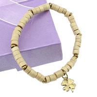 Деревянные браслеты, деревянный, с эластичная нить & цинковый сплав, Четырехлистный клевер, плакирован золотом, браслет-оберег, не содержит никель, свинец, 11x14x1mm, 3x5mm, длина:Приблизительно 6 дюймовый, 10пряди/Лот, продается Лот