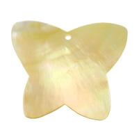 Wisiory z naturalnej żółtej muszli, Muszla żółta, Motyl, 58x49x2.80mm, otwór:około 2.8mm, 10komputery/wiele, sprzedane przez wiele