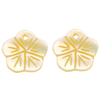 Natural Yellow Shell Pendants Flower 10x10x1mm Hole:Approx 0.8mm 50PCs/Lot