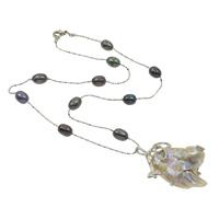 Naszyjnik ze słodkowodnych pereł na mosięznym łańcuchu, Perła naturalna słodkowodna, ze Perłowej muszli & Mosiądz, Naturalne, łańcuszkiem, 6-7mm, 31x42x10mm, sprzedawane na około 17 cal Strand