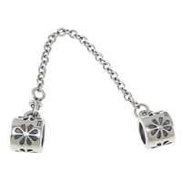 925 Sterling Silver European Safety Chain, with troll & with flower pattern & blacken, 6x10.5mm, 2mm, Hole:Approx 4mm, Length:Approx 2.5 Inch, 3Strands/Lot, Sold By Lot