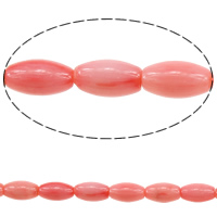 Natural Coral Beads, Oval, pink, 9x5mm, Hole:Approx 0.5mm, Length:Approx 16 Inch, 5Strands/Lot, Approx 44PCs/Strand, Sold By Lot