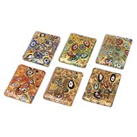 Fashion Lampwork Medálok, Téglalap, kézi, A millefiori szelet & arany homok, kevert színek, 34x45x8mm, Lyuk:Kb 4-5mm, 12PC-k/Bag, Által értékesített Bag