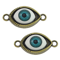 Evil Eye Connector, Zinc Alloy, with Resin, antique bronze color plated, epoxy sticker & 1/1 loop, nickel, lead & cadmium free, 29x15x7mm, Hole:Approx 2.5mm, 200PCs/Lot, Sold By Lot