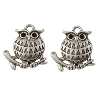 Zinc Alloy Pendant Rhinestone Setting Owl antique silver color plated nickel lead   cadmium free 16x18.50x3.50mm Hole:Approx 2mm Inner Diameter:Approx 1mm Approx 541PCs/KG