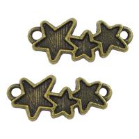 Звездчатый соединитель цинкового сплава, цинковый сплав, Звезда, Покрытие под бронзу старую, 1/1 петля, не содержит никель, свинец, 19x8x1.50mm, отверстие:Приблизительно 1.5mm, 1000ПК/Лот, продается Лот