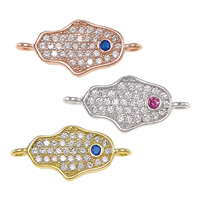 Cubic Zirconia Micro Pave Brass Connector Hamsa plated Jewish  Jewelry   Islamic jewelry   micro pave cubic zirconia   1/1 loop nickel lead   cadmium free 16.50x7.50x1.50mm Hole:Approx 1mm 10PCs/Lot