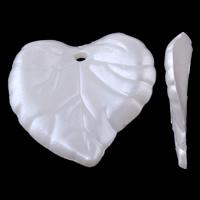 Tworzywa ABS perła Wisiorek, Liść, biały, 15x15x2mm, otwór:około 1mm, około 1225komputery/torba, sprzedane przez torba