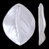Tworzywa ABS perła Wisiorek, Liść, biały, 24x36x4mm, otwór:około 1.5mm, około 400komputery/torba, sprzedane przez torba