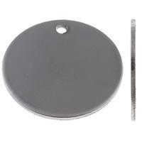 Roestvrij staal labels, Rond plat, laser patroon & Op maat, oorspronkelijke kleur, 20x20x1mm, Gat:Ca 1.5mm, 10pC's/Bag, Verkocht door Bag