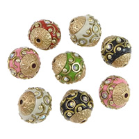 Indonesia Beads, with Zinc Alloy, Drum, plated, with rhinestone, more colors for choice, 15-17x16-18mm, Hole:Approx 2mm, 100PCs/Lot, Sold By Lot