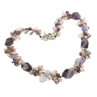 Natural Freshwater Pearl Necklace with Lace Agate   Crystal   Amethyst zinc alloy toggle clasp February Birthstone   faceted multi-colored 5-7mm 16x12.5mm Sold Per Approx 17.5 Inch Strand
