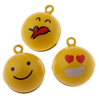 Brass Bell Pendant, Round, painted, different designs for choice, yellow, nickel, lead & cadmium free, 19x23x19mm, Hole:Approx 1.5mm, 50PCs/Bag, Sold By Bag