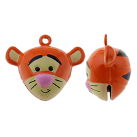 Brass Bell Pendant, Tiger, painted, nickel, lead & cadmium free, 30x25x17mm, Hole:Approx 1.5mm, 50PCs/Bag, Sold By Bag