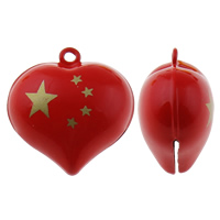 Brass Bell Pendant, Heart, painted, red, nickel, lead & cadmium free, 27x27x16mm, Hole:Approx 1.5mm, 50PCs/Bag, Sold By Bag