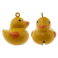 Brass Bell Pendant, Duck, painted, yellow, nickel, lead & cadmium free, 27x33x25mm, Hole:Approx 1.5mm, 50PCs/Bag, Sold By Bag
