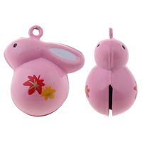 Brass Bell Pendant, Rabbit, painted, different size for choice, pink, nickel, lead & cadmium free, Hole:Approx 1.5mm, 50PCs/Bag, Sold By Bag