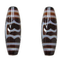 Natural Tibetan Agate Dzi Beads, Oval, garuda & two tone, Grade AAA, 13x38mm, Hole:Approx 2mm, Sold By PC