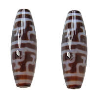 Natural Tibetan Agate Dzi Beads, Oval, nectar & two tone, Grade AAA, 13x38mm, Hole:Approx 2mm, 5PCs/Lot, Sold By Lot