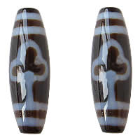 Natural Tibetan Agate Dzi Beads, Oval, leaf & two tone, 13x38mm, Hole:Approx 2mm, 5PCs/Lot, Sold By Lot