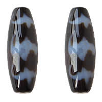 Natural Tibetan Agate Dzi Beads, Oval, five blessings & two tone, Grade AAA, 13x38mm, Hole:Approx 2mm, 5PCs/Lot, Sold By Lot