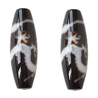 Natural Tibetan Agate Dzi Beads, Oval, five-claw dragon & two tone, Grade AAA, 13x38mm, Hole:Approx 2mm, Sold By PC