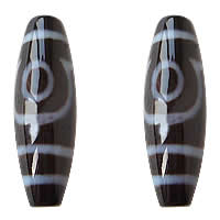 Natural Tibetan Agate Dzi Beads, Oval, two-eyed & two tone, Grade AAA, 12x38mm, Hole:Approx 2mm, Sold By PC
