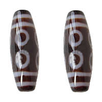 Natural Tibetan Agate Dzi Beads, Oval, eight-eyed & two tone, Grade AAA, 13x39mm, Hole:Approx 2mm, Sold By PC