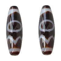 Natural Tibetan Agate Dzi Beads, Oval, sun earth water & two tone, Grade AAA, 12x38mm, Hole:Approx 2mm, Sold By PC