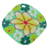 Polymer Clay Pendants, Rhombus, handmade, with flower pattern, 37x37x7mm, Hole:Approx 1-1.5mm, 100PCs/Bag, Sold By Bag