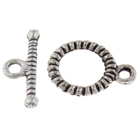 Zinc Alloy Toggle Clasp, Donut, antique silver color plated, single-strand, lead & cadmium free, 13x10x1.5mm, 5x14x1.5mm, Hole:Approx 1.5mm, 20Sets/Bag, Sold By Bag