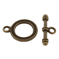 Zinc Alloy Toggle Clasp, Donut, antique bronze color plated, single-strand, lead & cadmium free, 22x17x2mm,9x24x4mm, Hole:Approx 3mm, 20Sets/Bag, Sold By Bag