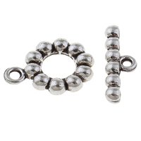 Zinc Alloy Toggle Clasp, Donut, antique silver color plated, single-strand, lead & cadmium free, 18x14x2mm, 6x20x3mm, Hole:Approx 2mm, 20Sets/Bag, Sold By Bag