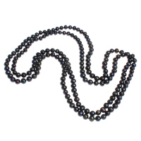 Natural Freshwater Pearl Long Necklace, Potato, black, 8-9mm, Sold Per Approx 63 Inch Strand
