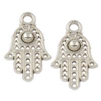 Zinklegering Hamsa Hangers, Zinc Alloy, antiek zilver plated, Islam sieraden, nikkel, lood en cadmium vrij, 12x20x3mm, Gat:Ca 2mm, Ca 1205pC's/KG, Verkocht door KG