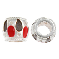 925 Sterling Silver European Beads, Drum, without troll & enamel, 8x8mm, Hole:Approx 5mm, 20PCs/Bag, Sold By Bag