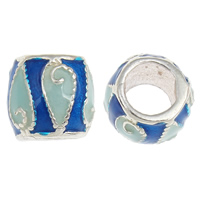 925 Sterling Silver European Beads, Drum, without troll & enamel, 8x7mm, Hole:Approx 4mm, 20PCs/Bag, Sold By Bag
