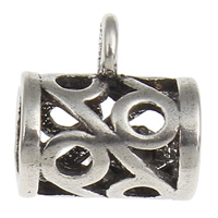 Thailand Sterling Silver Beads, Tube, hollow, 8x8x5.50mm, Hole:Approx 1, 3.5mm, 30PCs/Bag, Sold By Bag