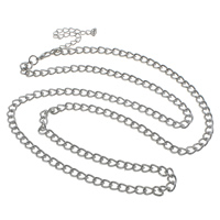 Iron Necklace Chain, with 7cm extender chain, plated, twist oval chain, more colors for choice, nickel, lead & cadmium free, 5x7x1.40mm, Sold Per Approx 29.5 Inch Strand