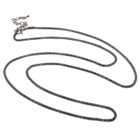 Iron Necklace Chain, with 6.5cm extender chain, plumbum black color plated, lantern chain, nickel, lead & cadmium free, 2.4mm, Sold Per Approx 29 Inch Strand