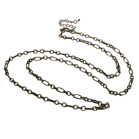 Iron Necklace Chain, with 7cm extender chain, antique bronze color plated, oval chain, nickel, lead & cadmium free, 4x5x1mm, 4x9x1mm, Length:Approx 30 Inch, 10Strands/Bag, Sold By Bag